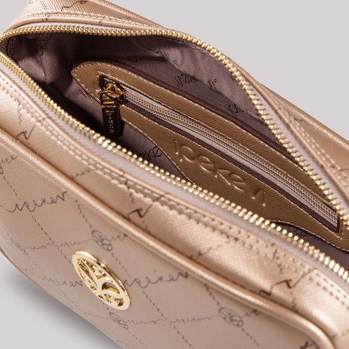 Altın Monogram Zincir Detaylı Çapraz Çanta