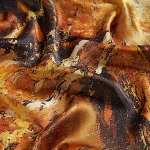 Altın Sonbahar Saten İpek Fular Şal - Thumbnail