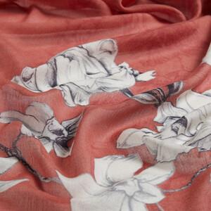 Bakır Kış Gülleri Desenli Şal - Thumbnail