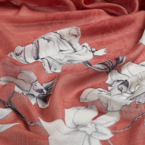 Bakır Kış Gülleri Desenli Şal
