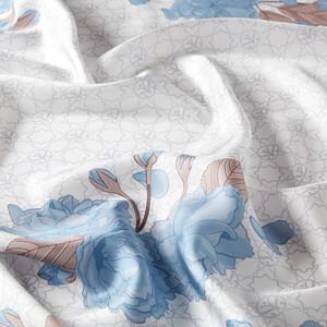 - Bebe Mavi Sakura Monogram Desenli Tivil İpek Eşarp (1)