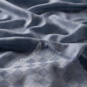 ipekevi - Bebe Mavisi Dama Desenli Yün İpek Eşarp (1)