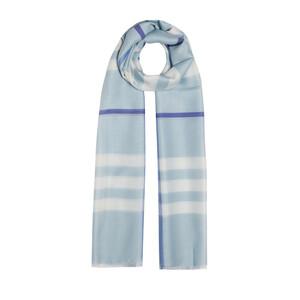 ipekevi - Bebe Mavisi Ekose Desenli Yün İpek Şal (1)