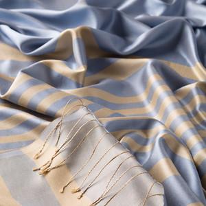 ipekevi - Bebe Mavisi Odak Meridyen Çizgili İpek Şal (1)
