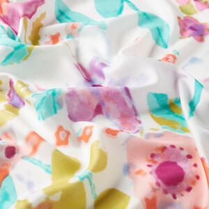 ipekevi - Beyaz Fuşya Bahar Buğusu Desenli Modal İpek Şal (1)