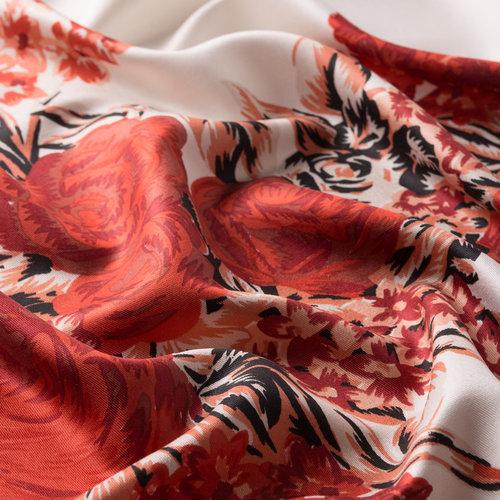 Beyaz Kırmızı Saray Bahçesi Desenli İpek Şal