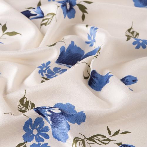 Beyaz Mavi Akasma Desenli İpek Şal
