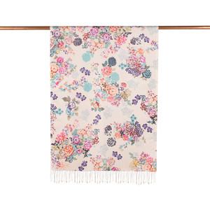 - Beyaz Turkuaz Yalı Bahçesi Desenli İpek Şal (1)