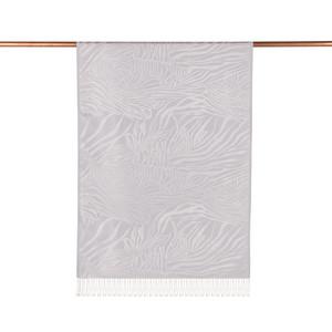 - Buz Beyazı Zebra Jakar Desenli İpek Şal (1)