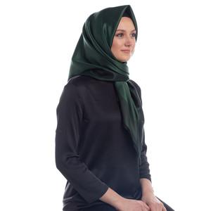 Çam Yeşili Çift Taraflı İpek Eşarp - Thumbnail