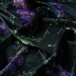 - Çam Yeşili Wild Violet Desenli Tivil İpek Eşarp (1)