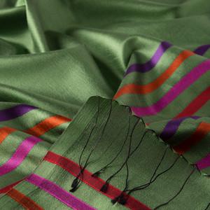 - Ceviz Yeşili İnce Çizgili İpek Fular Şal (1)