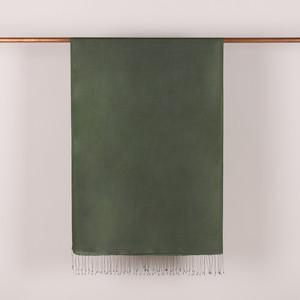 Ceviz Yeşili İnce Şantuk İpek Fular Şal - Thumbnail