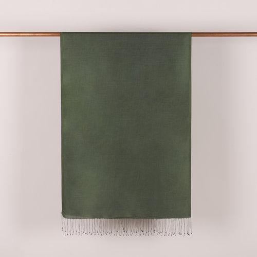 Ceviz Yeşili İnce Şantuk İpek Fular Şal