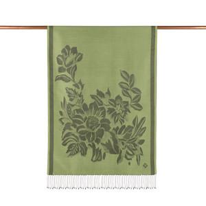 ipekevi - Çimen Yeşili Has Bahçe Desenli İpek Şal (1)