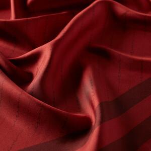 ipekevi - Çizgili Signature Kırmızı Tivil İpek Eşarp (1)