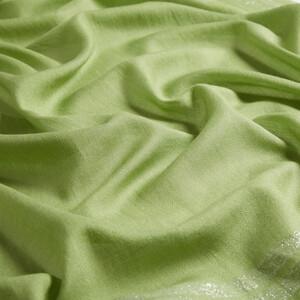 Fıstık Yeşili Şerit Simli Pamuk İpek Şal - Thumbnail