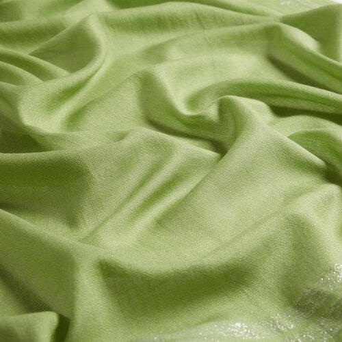 Fıstık Yeşili Şerit Simli Pamuk İpek Şal