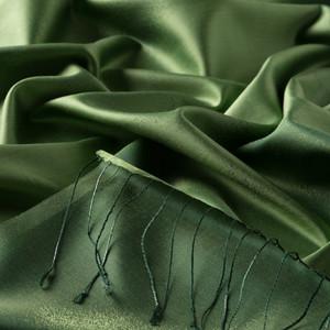 Fıstık Yeşili Püskürtme Desenli İpek Şal - Thumbnail