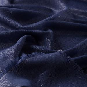 Gece Mavisi Simli Yün İpek Eşarp - Thumbnail