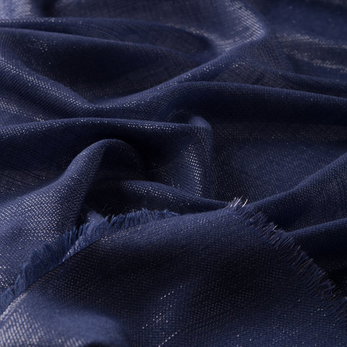 Gece Mavisi Simli Yün İpek Eşarp