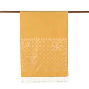 ipekevi - Gold Semi Monogram Desenli İpek Şal (1)