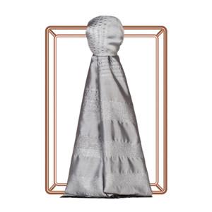 Gümüş İnce Simli Blok İpek Şal - Thumbnail