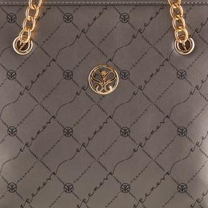 Gümüş Monogram Zincir Detaylı Tote Çanta - Thumbnail