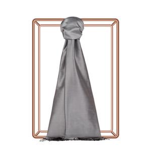 Gümüş Düz İpek Şal - Thumbnail