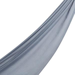 Gümüş Ekose Desenli Düz Pamuk İpek Şal - Thumbnail