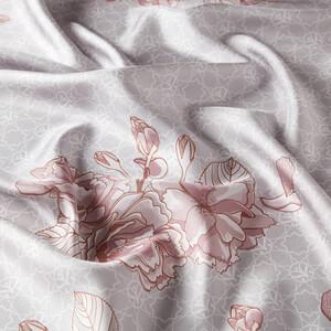 ipekevi - Gümüş Sakura Monogram Desenli Tivil İpek Eşarp (1)
