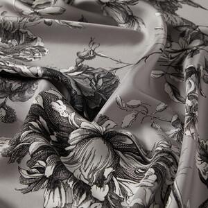 ipekevi - Gümüş Vintage Garden Desenli Tivil İpek Eşarp (1)
