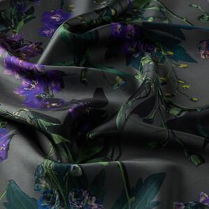 ipekevi - Gümüş Wild Violet Desenli Tivil İpek Eşarp (1)