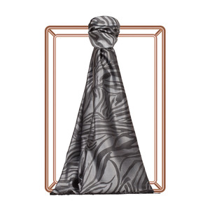Gümüş Zebra Jakar Desenli İpek Şal - Thumbnail