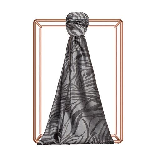 Gümüş Zebra Jakar Desenli İpek Şal