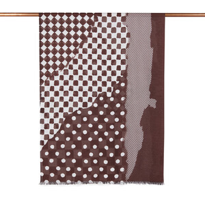 - Kahve Karma Geometri Desenli Şal (1)