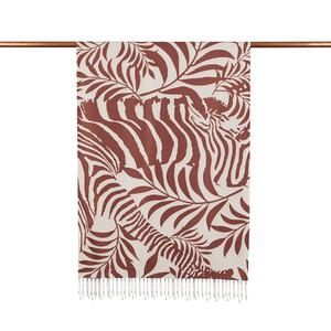 ipekevi - Kahverengi Palmiye Desenli İpek Şal (1)