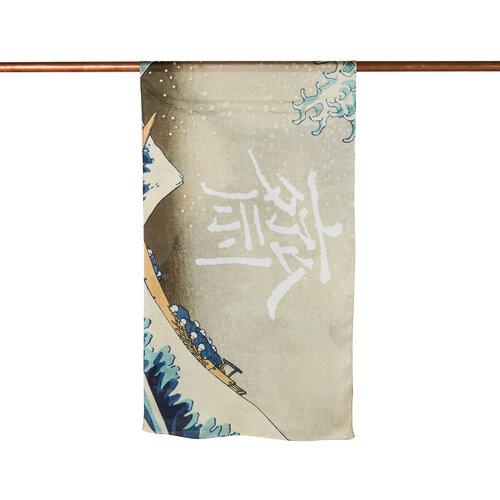 Kanagawanın Büyük Dalgası Saten İpek Fular Şal