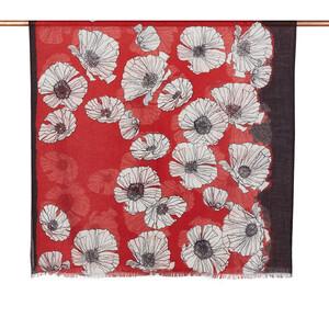 ipekevi - Kırmızı Gelincik Desenli Şal (1)