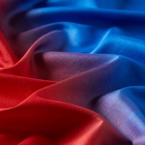 ipekevi - Kırmızı Saks Mavi Degrade Tek Taraflı İpek Fular Şal (1)