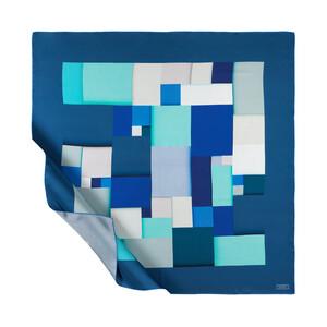 Kot Mavisi Lego Desenli Tivil İpek Eşarp - Thumbnail