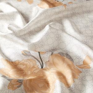 ipekevi - Krem Sakura Monogram Desenli Tivil İpek Eşarp (1)