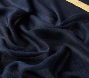 ipekevi - Lacivert Altın Şeritli Yün İpek Şal (1)