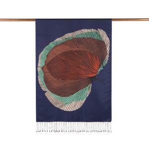 - Lacivert İpek Ağacı Desenli İpek Şal (1)