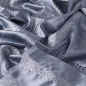 Metalik Mavi İnce Simli Blok İpek Şal - Thumbnail