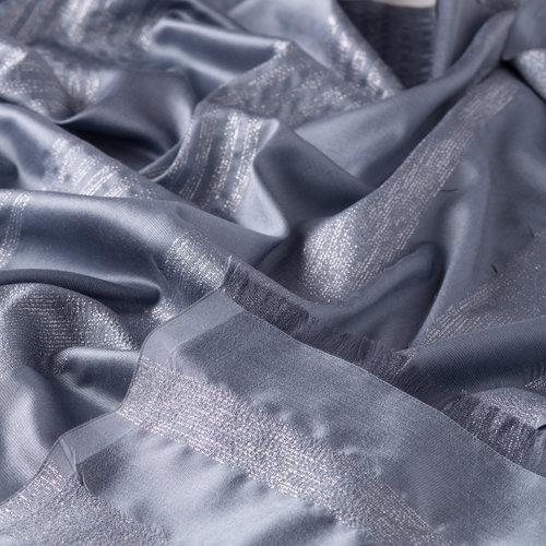 Metalik Mavi İnce Simli Blok İpek Şal