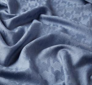 ipekevi - Metalik Mavi Kaz Ayağı Desenli Yün İpek Şal (1)