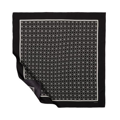 Mini Seljuk Monogram Siyah Tivil İpek Eşarp