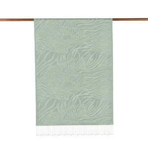 - Mint Yeşili Zebra Jakar Desenli İpek Şal (1)