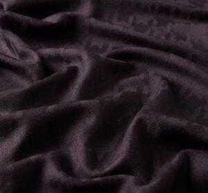 ipekevi - Patlıcan Moru Kaz Ayağı Desenli Yün İpek Şal (1)